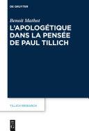 Pdf L'apologétique dans la pensée de Paul Tillich Telecharger