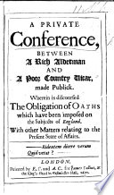 A Private Conference  Between a Rich Alderman and a Poor Country Vicar  Made Publick