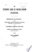 De Ciceronis libris De Natura Deorum recensendis. Dissertatio inauguralis