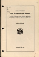 Annual Register - State of Wisconsin, Dept. of Regulation and Licensing, Accounting Examining Board