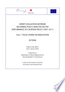 Policy Paper On Innovation Estonia Expert Evaluation Network Delivering Policy Analysis On The Performance Of Cohesion Policy 2007 201 A Report To The European Commission Dg Regional Policy  Book PDF