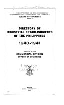 Directory of Industrial Establishments of the Philippines  1940 1941