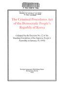 The Criminal Procedures Act of the Democratic People's Republic of Korea