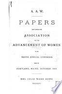 Papers read before the Association for the Advancement of Women