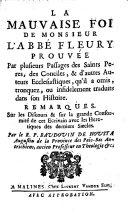 La mauvaise foi de Monsieur l'abbé Fleury prouvée