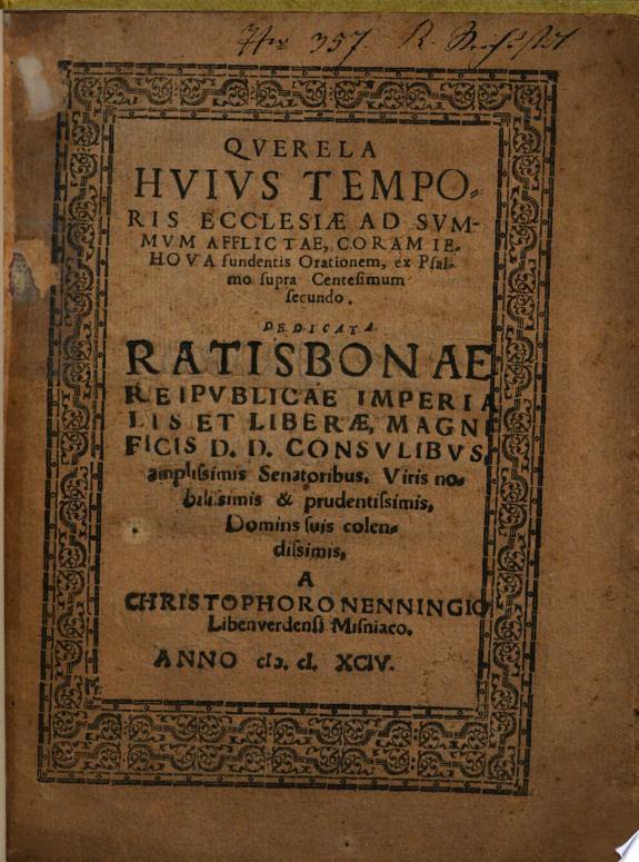 Qverela Hvivs Temporis Ecclesiae Ad Svmmvm Afflictae