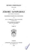 Oeuvres spirituelles choisies de Jérôme Savonarole, des Frères Prêcheurs
