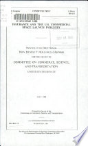 Insurance and the U S  Commercial Space Launch Industry Book