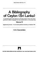 A Bibliography Of Ceylon