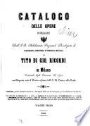 Catalogo delle opere publicate dall J. R. Stabilimento nazionale privilegiato di calcografia, copisteria e tipografia musicali di Tito di Giov. Ricordi in Milano