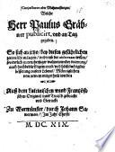 Conjecturen oder Muhtmassungen, welche Herr Paulus Gräbner publicirt, und an Tag gegeben
