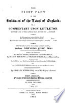 The First Part of the Institutes of the Laws of England Book PDF