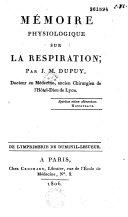 Mémoire physiologique sur la respiration