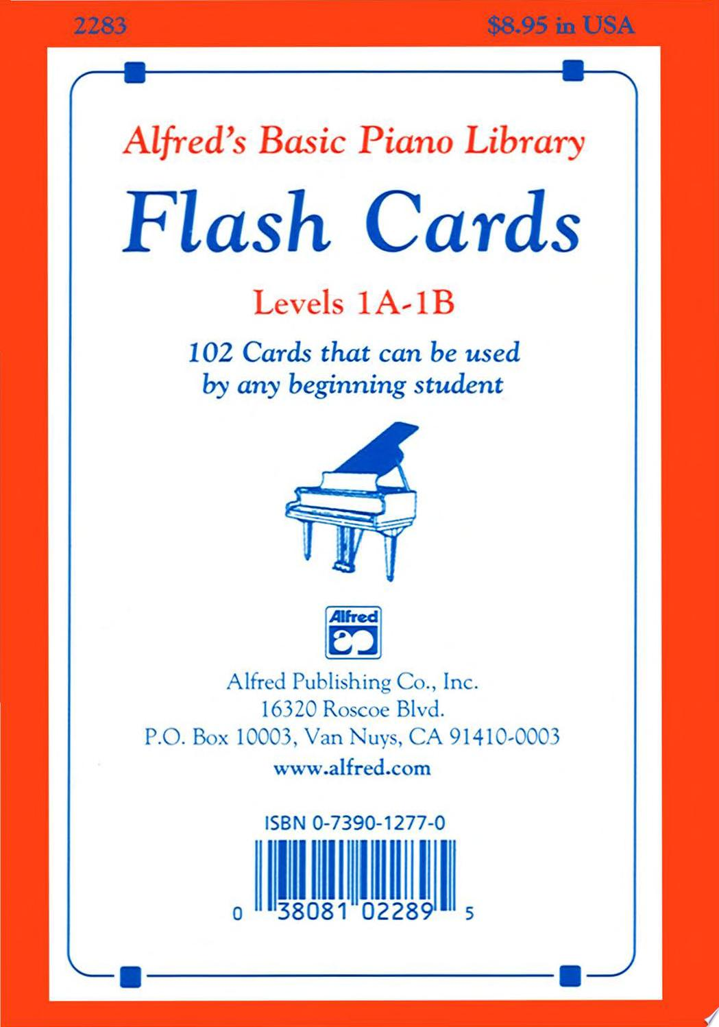 Alfred s Basic Piano Library  Flash Cards  Levels 1A and 1B