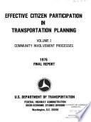 Effective Citizen Participation in Transportation Planning