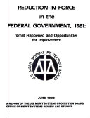 Reduction in force in the Federal Government  1981