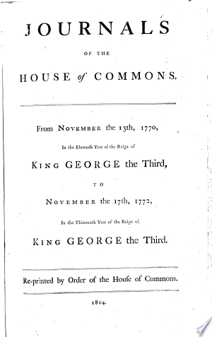 Read Online Journals of the House of Commons Full Book