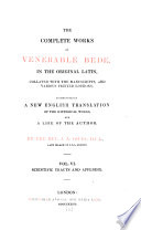 The Complete Works Of Venerable Bede Scientific Tracts And Appendix