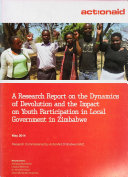 A Research Report on the Dynamics of Devolution and the Impact on Youth Participation in Local Government in Zimbabwe