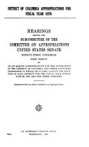 District of Columbia Appropriations for Fiscal Year 1970  Hearings Before     91 1
