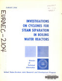 Investigations on Cyclones for Steam Separation in Boiling Water Reactors
