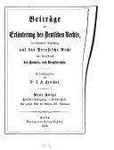 Beiträge zur Erläuterung des deutschen Rechts