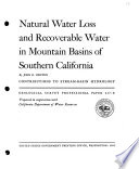 Natural Water Loss and Recoverable Water in Mountain Basins of Southern California Book