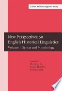New Perspectives On English Historical Linguistics Syntax And Morphology