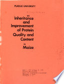 Annual Report on the Inheritance and Improvement of Protein Quality and Content in Maize