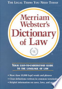 Merriam Webster s Dictionary of Law Book