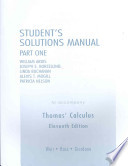 Student Solutions Manual Part 1 for Thomas' Calculus