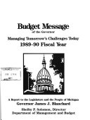 Budget Message of the Governor