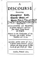 A Discourse concerning evangelical love  church peace and unity  With the     reasons of present differences     about things sacred  etc   By J  Owen   MS  notes