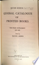General Catalogue of Printed Books