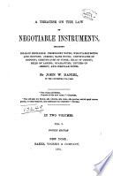 A Treatise on the Law of Negotiable Instruments