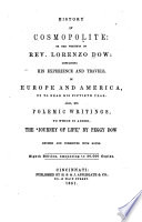 History of Cosmopolite  Or  The Writings of Rev  Lorenzo Dow Book