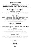 Zur Kenntniß der, unter dem Titel: Bibliothèque Latine-Française, von C. L. F. Panckoucke zu Paris veranstalteten und herausgegebenen Sammlung von französischen Uebersetzungen lateinischer Classiker