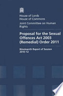 Proposal For The Sexual Offences Act 2003 Remedial Order 2011