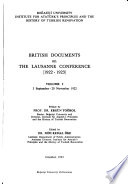 British documents on the Lausanne Conference, 1922-1923
