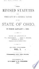 The revised statutes of the state of Ohio Book
