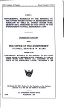Impeachment of President William Jefferson Clinton  pts  1 3  Supplemental materials to the Referral from Independent Counsel Kenneth W  Starr  House document 105 316  pts  1 3 Book