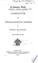 De Quincey s Works  Narrative and miscellaneous papers