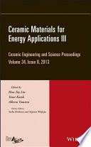 Ceramic Materials For Energy Applications Iii Book PDF