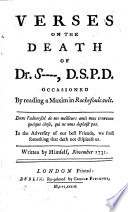 Verses on the Death of Dr. S----. D.S.P.D.