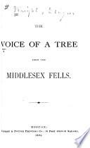 The Voice of a Tree from the Middlesex Fells