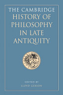 The Cambridge History of Philosophy in Late Antiquity