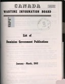 List Of Dominion Government Publications