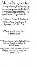 Edict du roy touchant la connoissance ... des proces de Lutheriens et heretiques