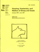 Housing  Husbandry  and Welfare of Sheep and Goats