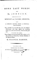 Pdf More last words of Dr. Johnson. Consisting of ... anecdotes, and a ... letter from a Medical Gentleman ... To which are added, several ... facts relative to his Biographical Executor [Sir J. Hawkins]. By Francis, Barber. [A satire.]